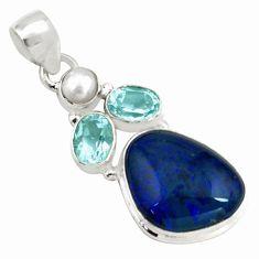 14.40cts natural blue australian opal triplet topaz 925 silver pendant p79687