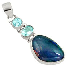 11.57cts natural blue australian opal triplet topaz 925 silver pendant p79714