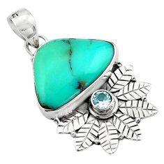 13.24cts natural blue campitos turquoise 925 silver deltoid leaf pendant p84668