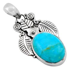 13.55cts natural blue campitos turquoise 925 silver deltoid leaf pendant p84682