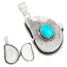 4.29cts natural blue campitos turquoise 925 silver poison box pendant p79829