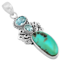 12.48cts natural blue campitos turquoise topaz 925 silver pendant p84731