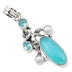 10.70cts natural blue chalcedony 925 silver angel wings fairy pendant p58923