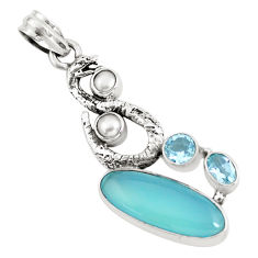 12.34cts natural blue chalcedony topaz 925 silver anaconda snake pendant p58886