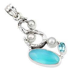 11.25cts natural blue chalcedony topaz 925 silver anaconda snake pendant p58922