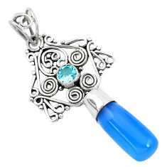 9.32cts natural blue chalcedony topaz 925 sterling silver pendant jewelry p40382