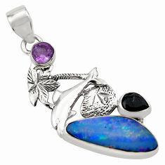 9.67cts natural blue doublet opal australian 925 silver dolphin pendant p79674