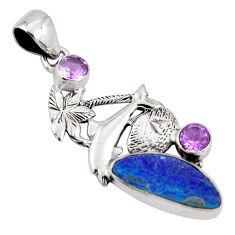 8.77cts natural blue doublet opal australian 925 silver dolphin pendant p90203