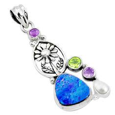 10.33cts natural blue doublet opal australian 925 silver flower pendant p51881