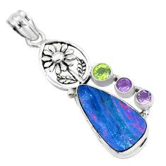 11.62cts natural blue doublet opal australian 925 silver flower pendant p51889