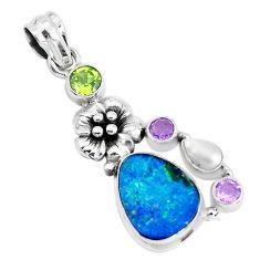 10.02cts natural blue doublet opal australian 925 silver flower pendant p51891
