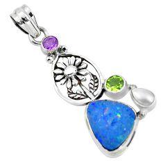9.42cts natural blue doublet opal australian 925 silver flower pendant p51893