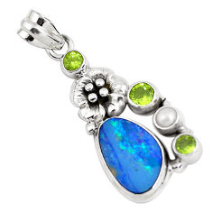 9.63cts natural blue doublet opal australian 925 silver flower pendant p51898