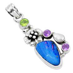 10.70cts natural blue doublet opal australian 925 silver flower pendant p51906