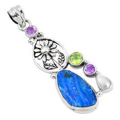 11.23cts natural blue doublet opal australian 925 silver flower pendant p51907