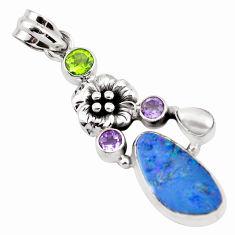 7.36cts natural blue doublet opal australian 925 silver flower pendant p58052