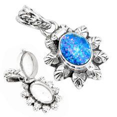 Natural blue doublet opal australian 925 silver poison box pendant p44954