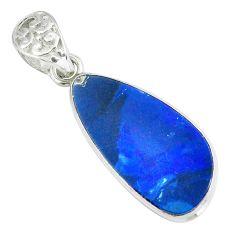 12.52cts natural blue doublet opal australian 925 sterling silver pendant p67805