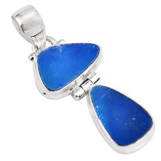 9.59cts natural blue doublet opal australian 925 sterling silver pendant p86825