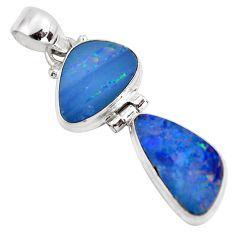 9.98cts natural blue doublet opal australian 925 sterling silver pendant p86826