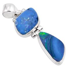 9.96cts natural blue doublet opal australian 925 sterling silver pendant p86827