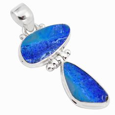10.78cts natural blue doublet opal australian 925 sterling silver pendant p86829