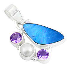 Clearance Sale- 8.77cts natural blue doublet opal australian amethyst 925 silver pendant d31263