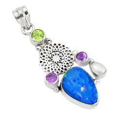 9.04cts natural blue doublet opal australian amethyst 925 silver pendant p51883