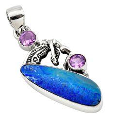 11.37cts natural blue doublet opal australian amethyst 925 silver pendant p79662
