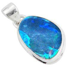 8.73cts natural blue doublet opal australian fancy 925 silver pendant p34070