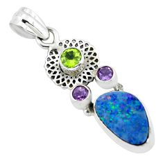 6.83cts natural blue doublet opal australian peridot 925 silver pendant p58041