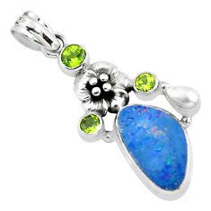8.03cts natural blue doublet opal australian peridot 925 silver pendant p58045