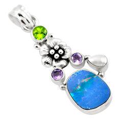 6.95cts natural blue doublet opal australian peridot 925 silver pendant p58046