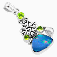 7.73cts natural blue doublet opal australian peridot 925 silver pendant p58059