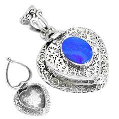 2.81cts natural blue doublet opal australian silver poison box pendant p44914