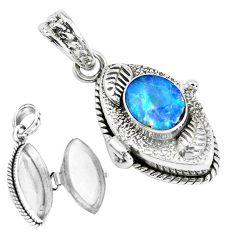 2.99cts natural blue doublet opal australian silver poison box pendant p44915