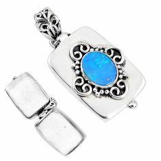 3.30cts natural blue doublet opal australian silver poison box pendant p44943