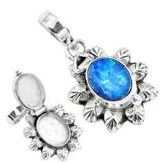 2.69cts natural blue doublet opal australian silver poison box pendant p44953
