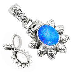 3.01cts natural blue doublet opal australian silver poison box pendant p44955