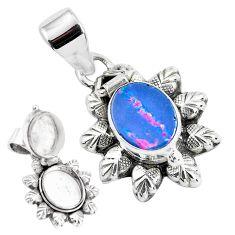 3.05cts natural blue doublet opal australian silver poison box pendant p44959