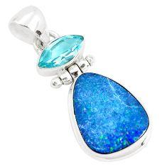 10.02cts natural blue doublet opal australian topaz 925 silver pendant p34093