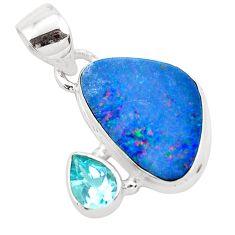 8.26cts natural blue doublet opal australian topaz 925 silver pendant p49921