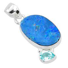 8.26cts natural blue doublet opal australian topaz 925 silver pendant p49937