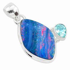 9.61cts natural blue doublet opal australian topaz 925 silver pendant p49939