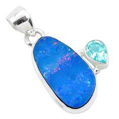 8.73cts natural blue doublet opal australian topaz 925 silver pendant p49940