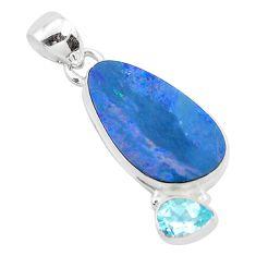 8.32cts natural blue doublet opal australian topaz 925 silver pendant p49951