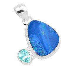 8.26cts natural blue doublet opal australian topaz 925 silver pendant p49956