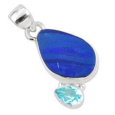 6.61cts natural blue doublet opal australian topaz 925 silver pendant p59083