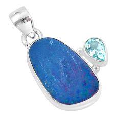 7.97cts natural blue doublet opal australian topaz 925 silver pendant p59097
