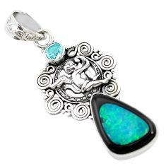 Natural blue doublet opal in onyx 925 silver cupid angel wings pendant p53756